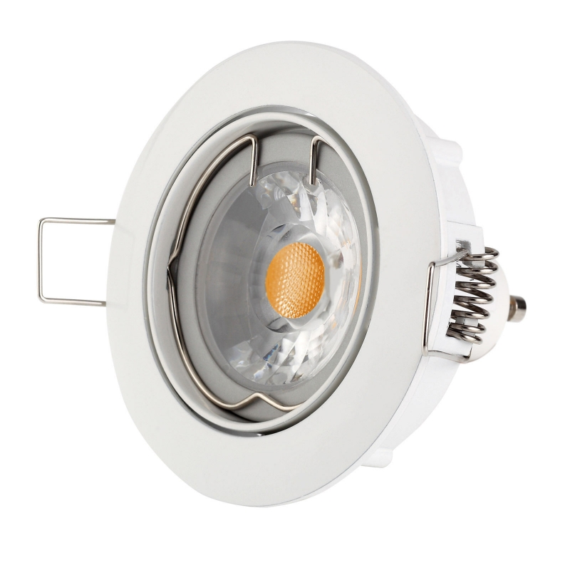 Kit spot led encastrable gu10 230v rond orientable blanc for Spot led interieur encastrable