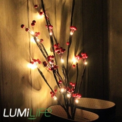 Branche artificielle à baies rouges à piles - Marron - 76 cm / 20 LED
