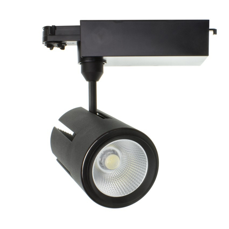 spot led gatling pour rail triphas 40w noir. Black Bedroom Furniture Sets. Home Design Ideas
