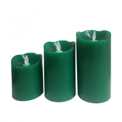 Pack de 3 Bougies LED Verte Special Flame