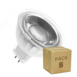 Pack 5 Ampoules LED GU5.3 MR16 COB Cristal 12V 45º 5W
