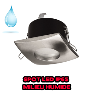 Spot led carré IP65 12V et 230V - Blanc et satin